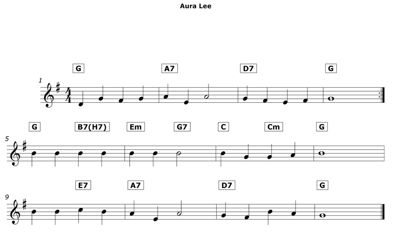 aura lee leadsheet