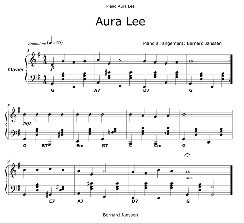 aura lee piano