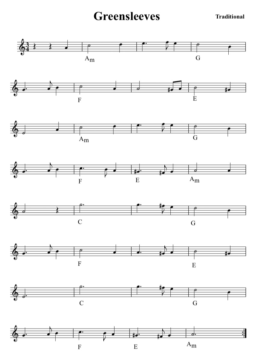 lead sheet greensleeves
